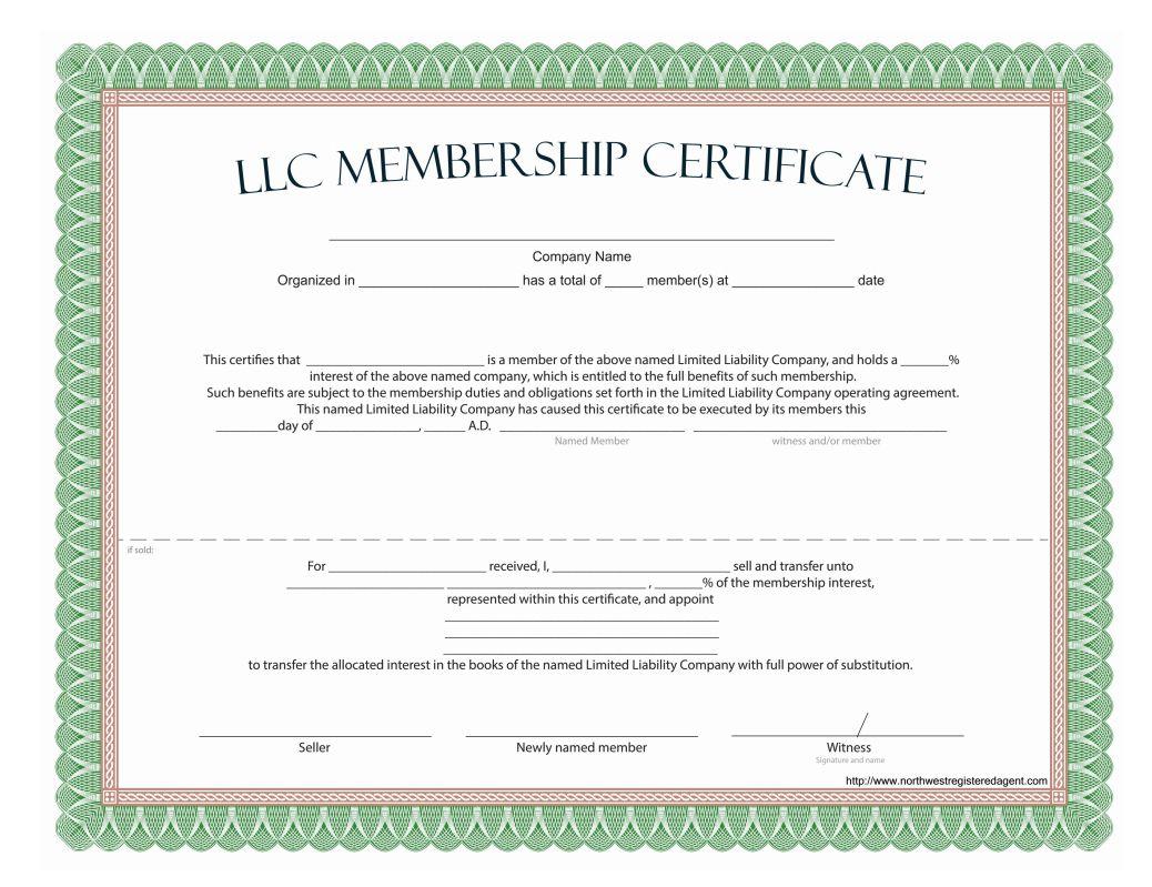 Llc Membership Certificate Free Template throughout Llc