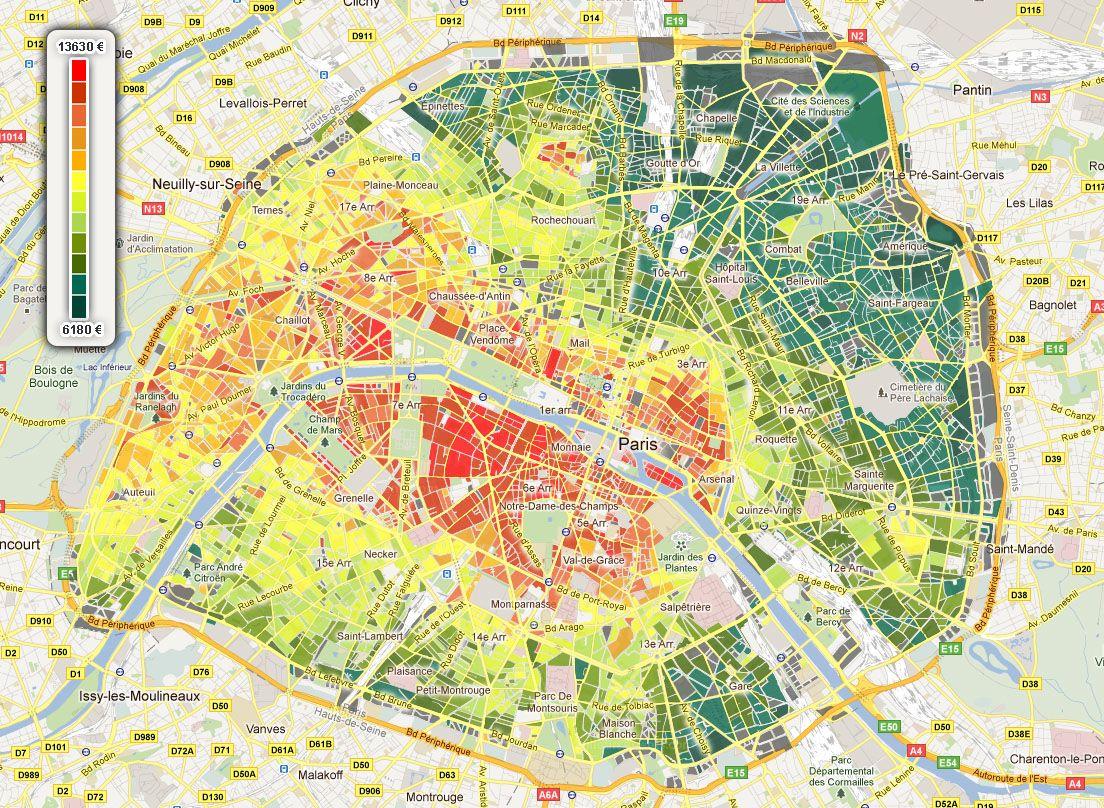 carte immobilier paris real estate price per square meter maps pinterest map paris y. Black Bedroom Furniture Sets. Home Design Ideas