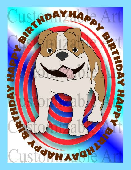 Dog Happy Birthday Card Printable Pit Bull By Customizableart