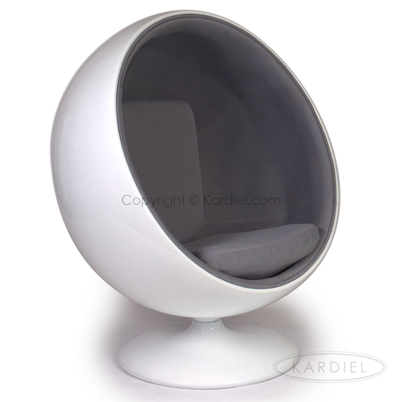 Ball Chair White FiberglassGrey Microfiber   Sm Living