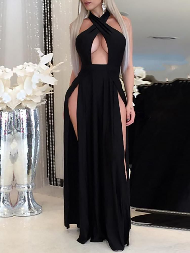 Photo of Sexy Halter Cross High Slit Maxi Dress