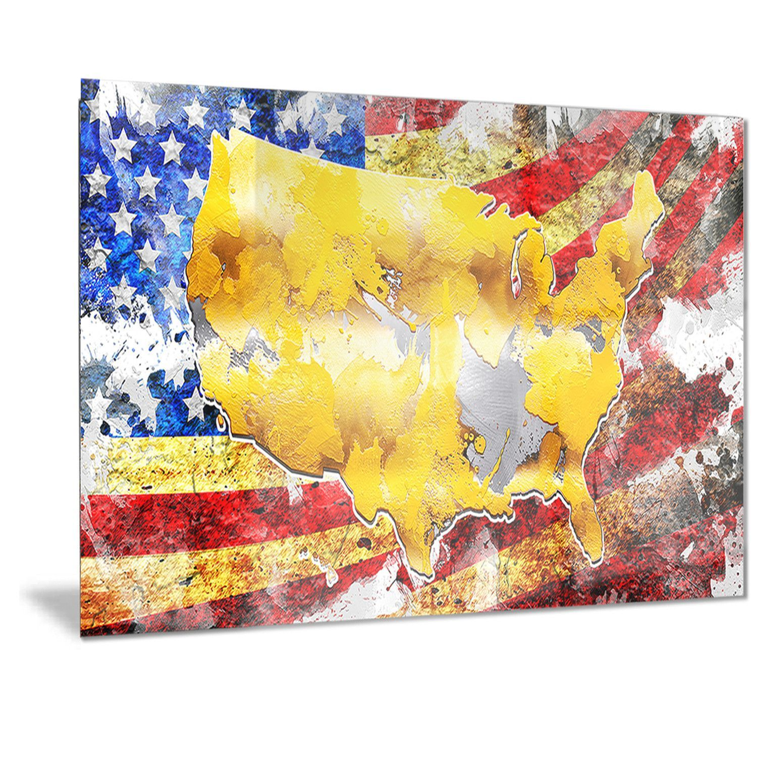 Designart \'usa Map on Flag\' | Products | Pinterest | Metal wall art ...