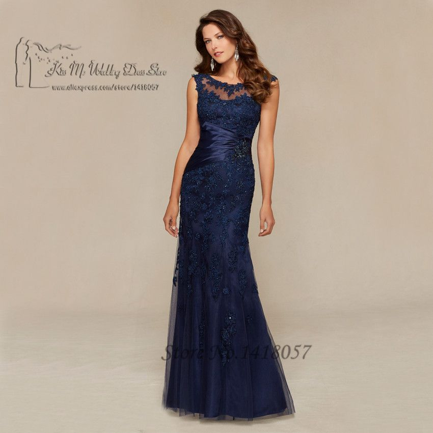 Azul marino sirena de encaje vestido de noche largo moldeado Madre ...