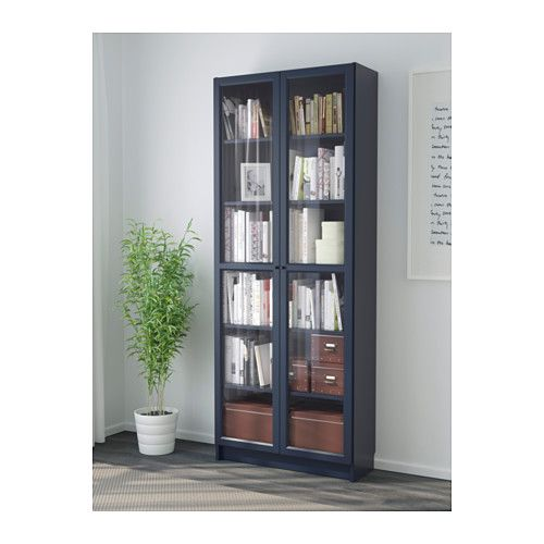 billy biblioth que avec porte vitr e bleu fonc. Black Bedroom Furniture Sets. Home Design Ideas