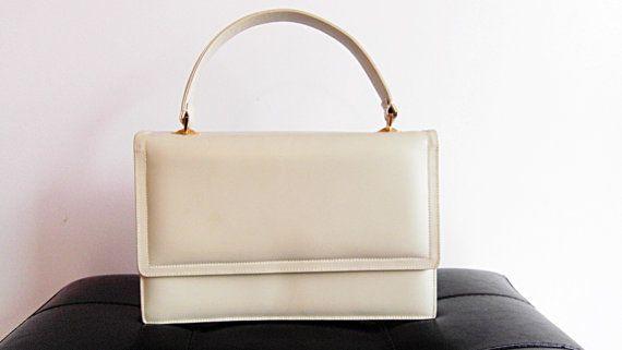 1960s Vintage Ivory Rectangle Flap Bag