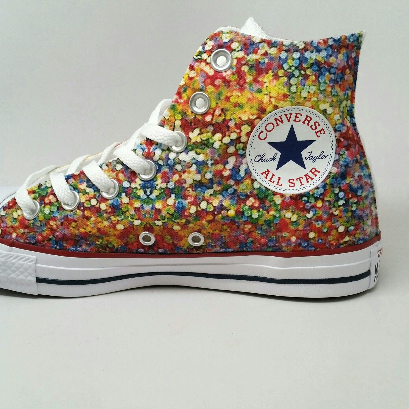 a8a2cf33f6ea Custom Converse White High Tops A little splash of color on a White Converse  High Top