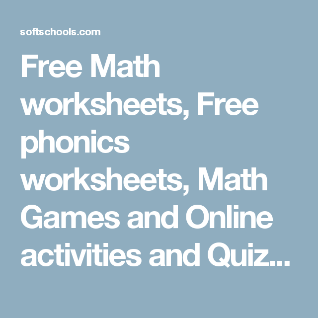 Free Math worksheets, Free phonics worksheets, Math Games and Online ...