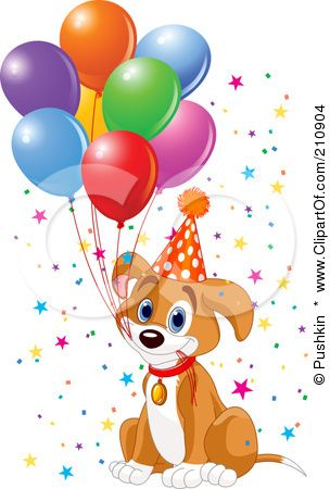 Royalty Free Rf Clipart Illustration Of A Cute Beagle Puppy Dog Holding Balloon Strings In His Mouth And Wearing A Party H Cute Beagles Balloons Puppy Images