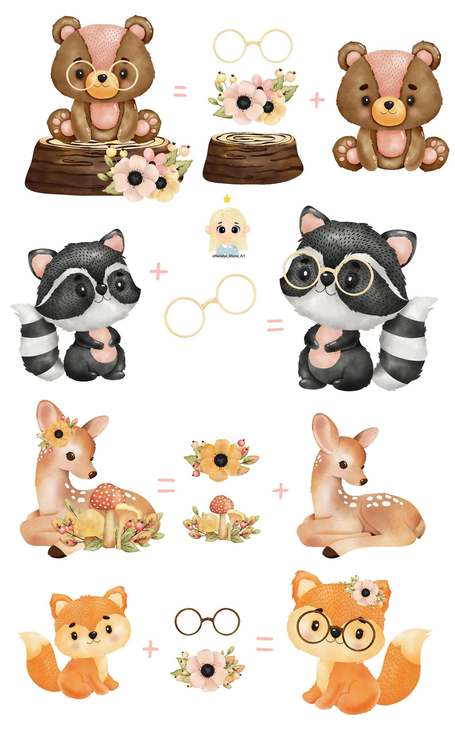 Forest Animal Watercolor Digital Clipart Woodland Creatures Etsy Animal Clipart Watercolor Animals Forest Animals Illustration