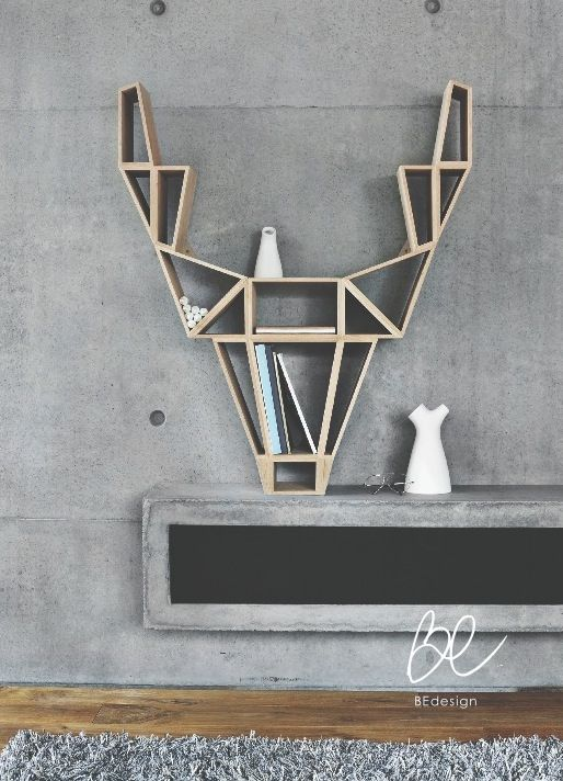 Deer shelf by BEdesign.    This impressive-looking bookshelf is inspired by the wild deer in the forest, and their noble nature, which is reflected in the appearance of the shelf. The curiosity-awaking shelf is made of solid oak, while maintaining a lightweight feel, thanks to its airy shelves.