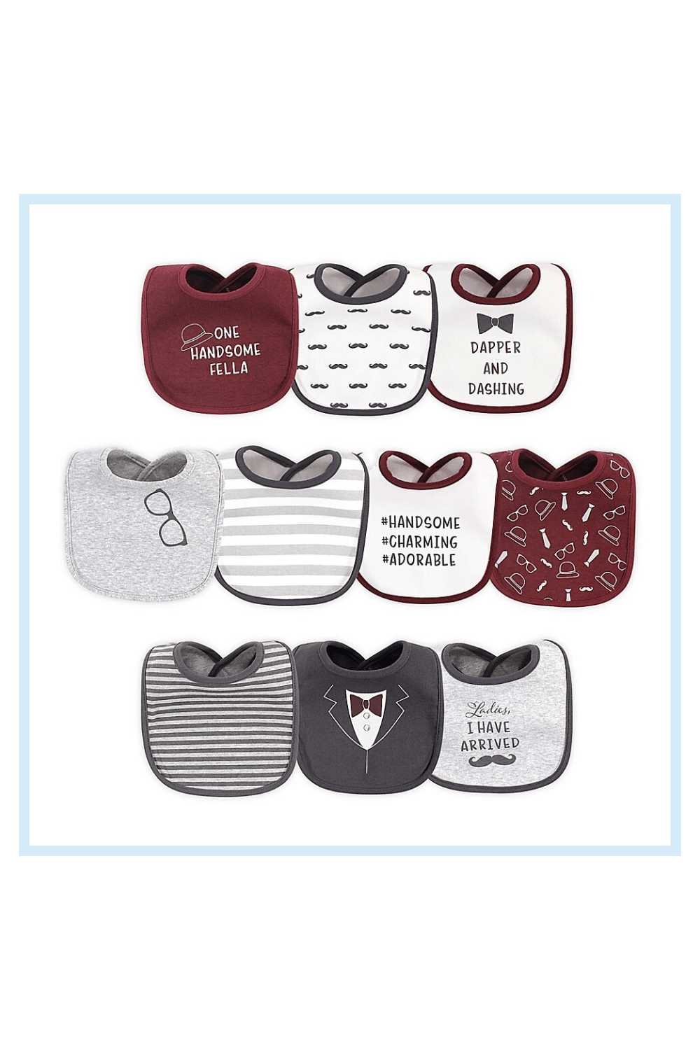 Hudson Baby 10-Pack I Have Arrived Drooler Bibs In Red/white Blue - Hudson Baby Drooler Bibs will keep your little one looking cute and clean at dinner time. Each soft bib is made of absorbent fabric that will stop drips, drools, and spills. With 10 cute designs to choose from, you'll be ready for any occasion.