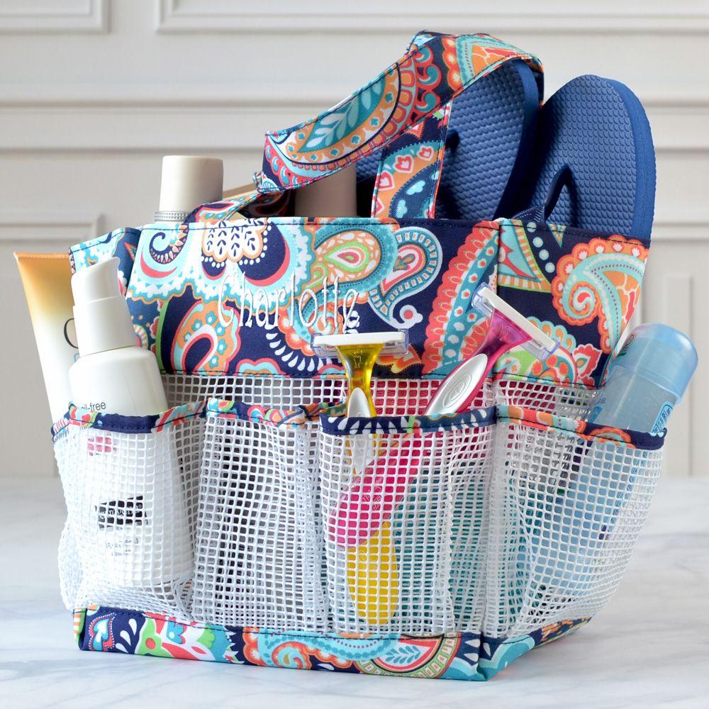 Personalized Mesh Fabric Shower & Bath Caddy | graduation gifts ...