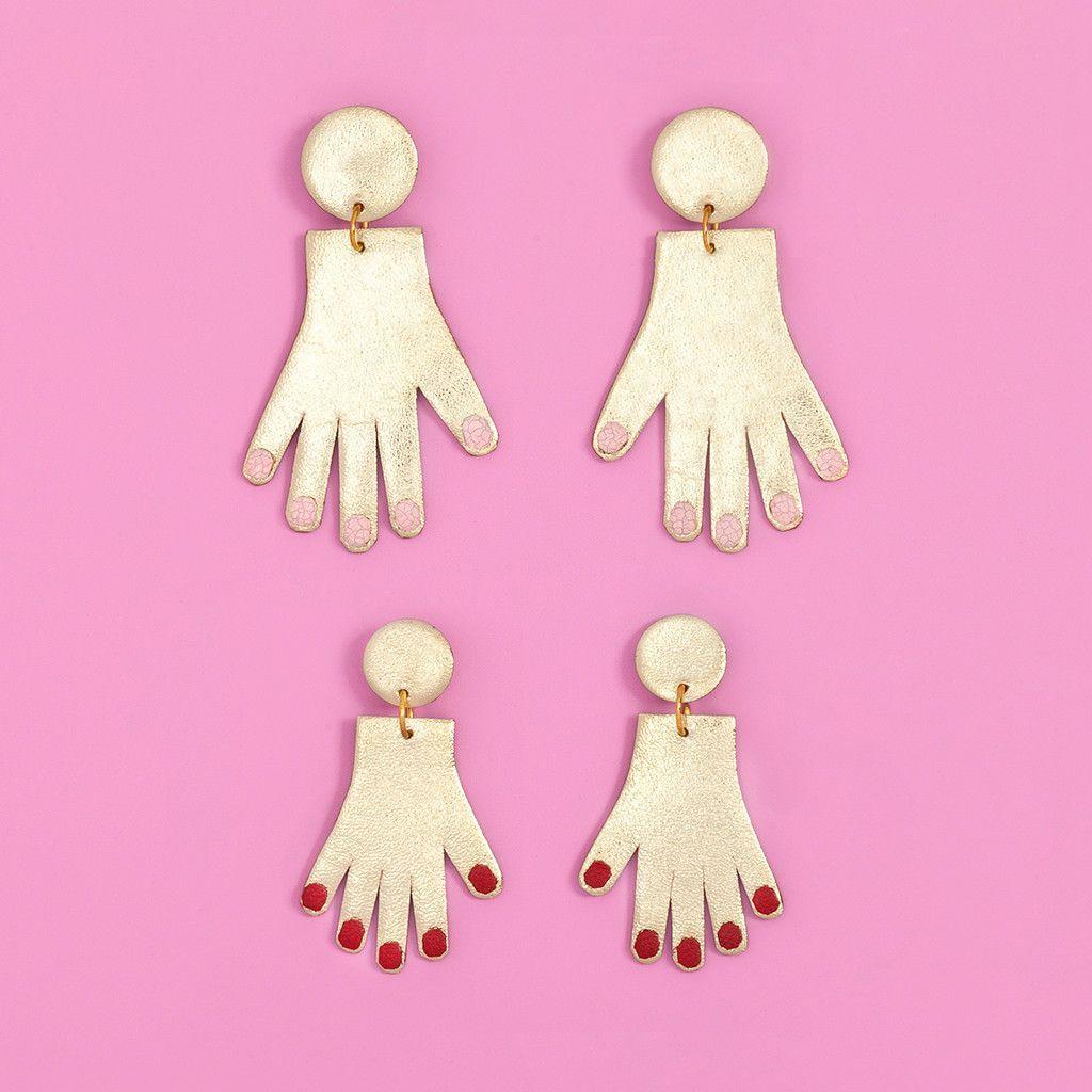 pink nails earrings