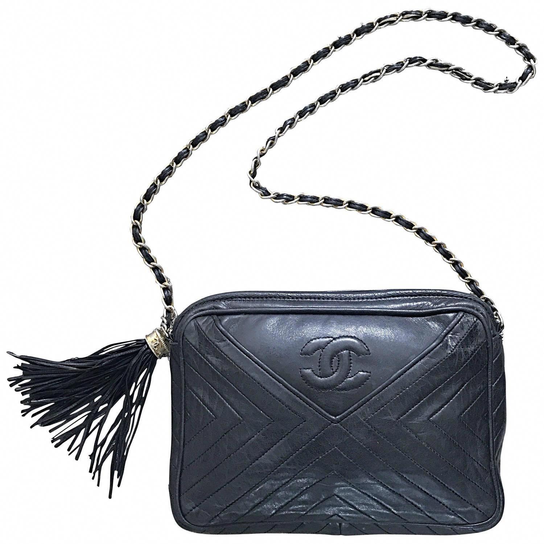 726df33ad8c1 Vintage CHANEL Black Leather Chevron Quilted Stripe Shoulder Bag 80s  Crossbody  Chanelhandbags