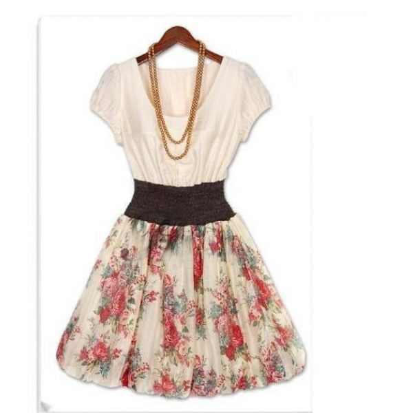 cute summer dresses | Summer Short Sleeves Cute Chiffon Floral ...