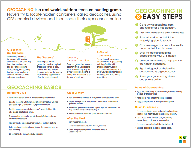 Geocaching Intro Brochure Geocaching Camping Activities For