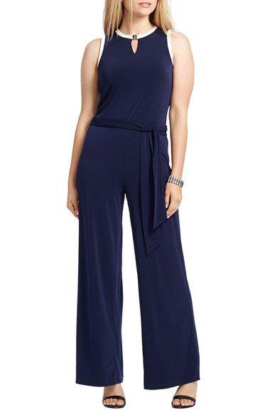 595a9e7d4aa Lauren Ralph Lauren Belted Jersey Wide Leg Jumpsuit (Plus Size) available  at  Nordstrom