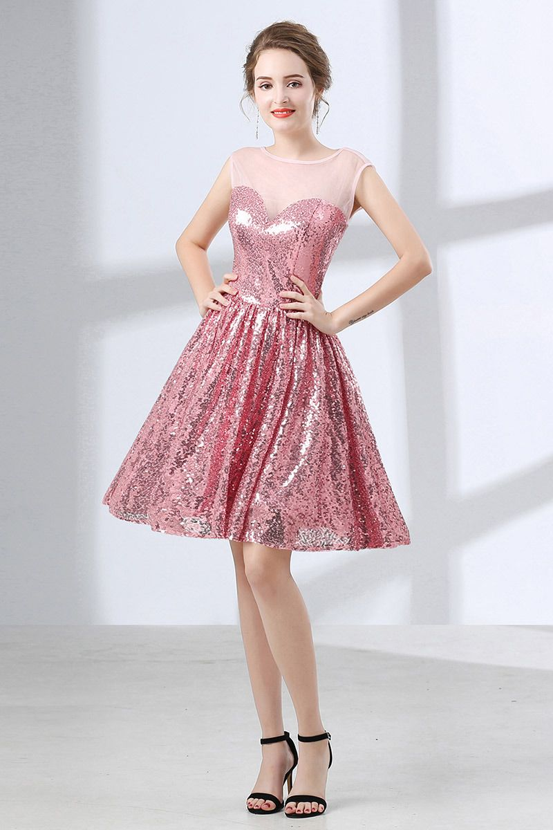Sparkly Cute Pink Short Homecoming Dress For Senior Girls #CH6660 ...