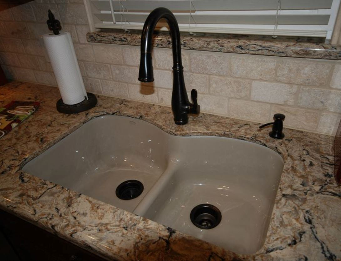 Kohler Langlade sink in Sandbar with Bellera faucet in ORB ...
