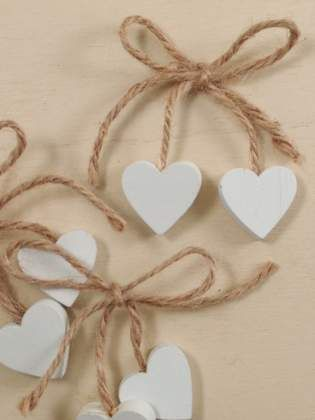 Segnaposto matrimonio cuori cuoricini shabby legno