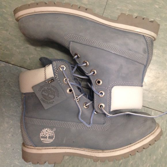Baby Blue Timberland Boots - Cutest Timberlands I have ever owned    Great  Condition   Baby blue   Size 6   Timberland Boots   Shoes Combat   Moto  Boots 85fae2016