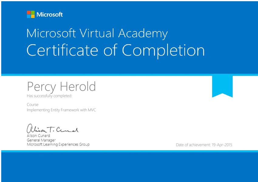 Entity Frame Work Certification Certificate Of Completion Microsoft Virtual Academy