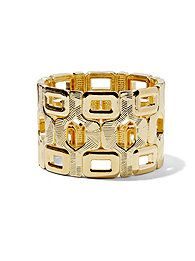 Openwork Geometric Stretch Bracelet #goldaccessories   Available at Citadel Mall, Charleston, SC