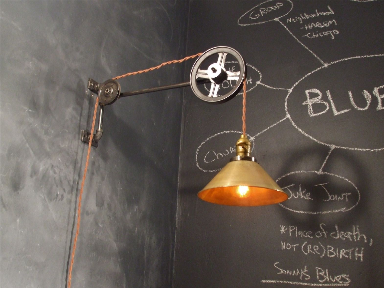 Plafoniere Industrial Style : Vintage industrial style pulley lamp