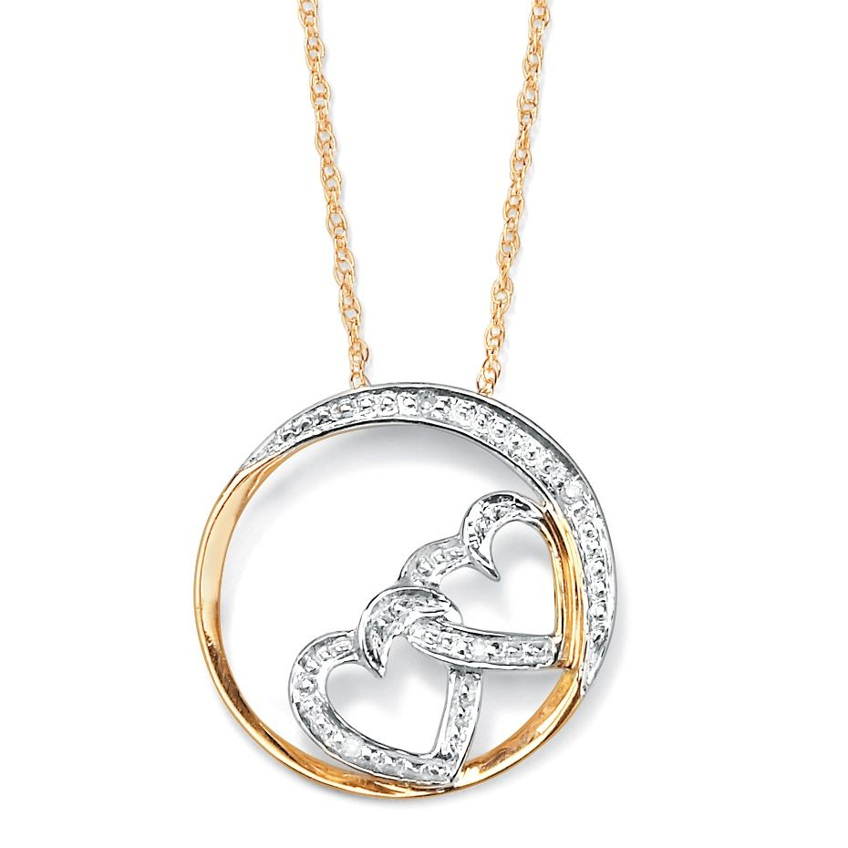 Diamond Accent k Yellow Gold over Sterling Silver DoubleHeart