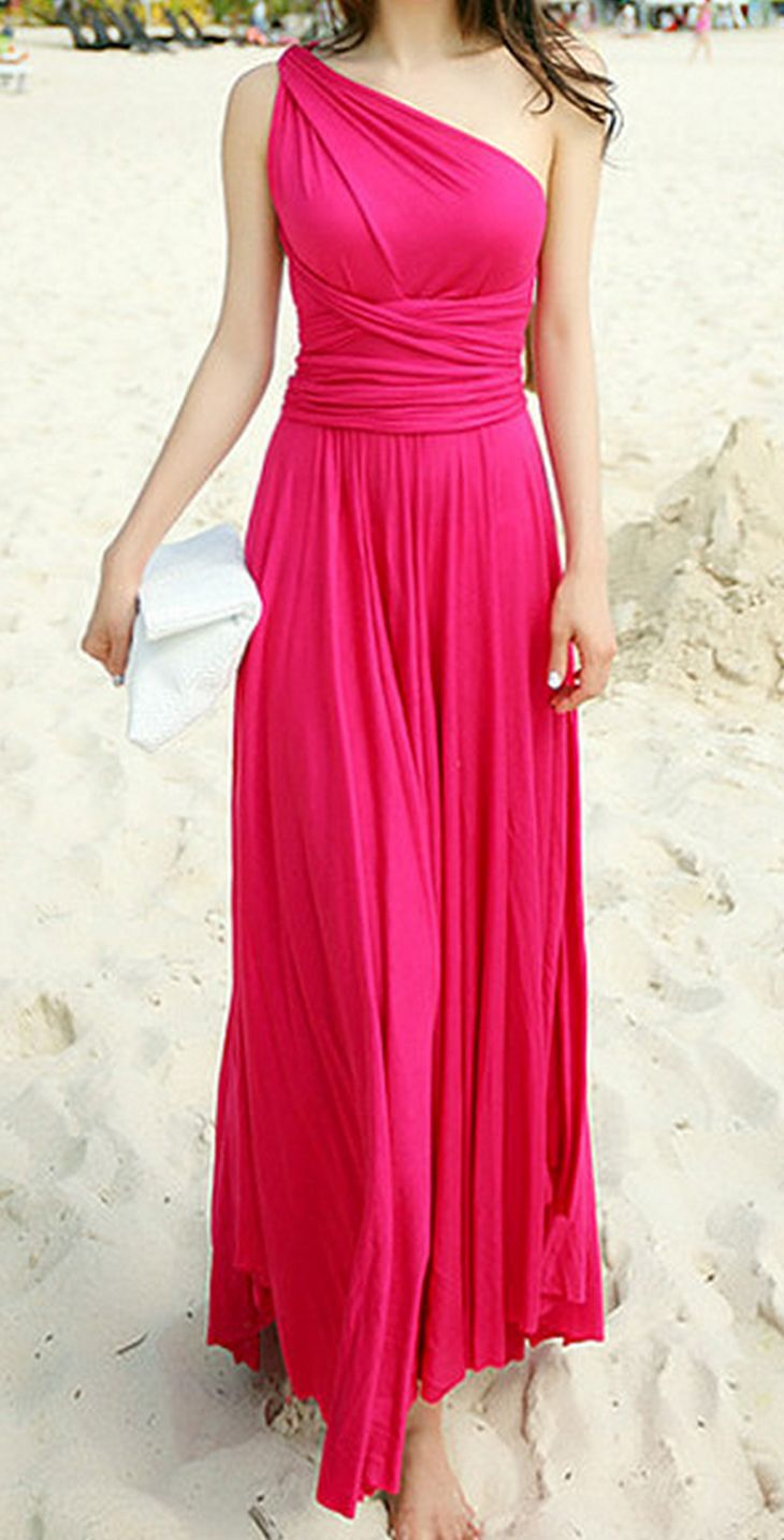 Hot Pink Magic Maxi Dress Bridesmaid Dresses Long Chiffon One Shoulder Bridesmaid Dresses Beach Bridesmaid Dresses