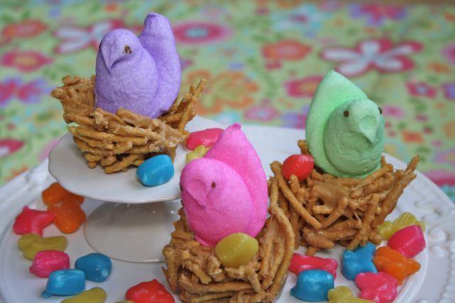 Peanut Butter Birdie Nests #yesterdayontuesday #easter #peeps