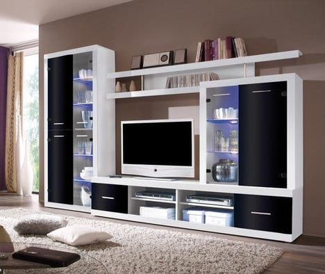 Schau Mal Was Ich Bei Roller Gefunden Habe Wohnwand Weiss Schwarz Glasfronten Vitrine Living Room Tv Unit Designs Tv Unit Furniture Furniture Design