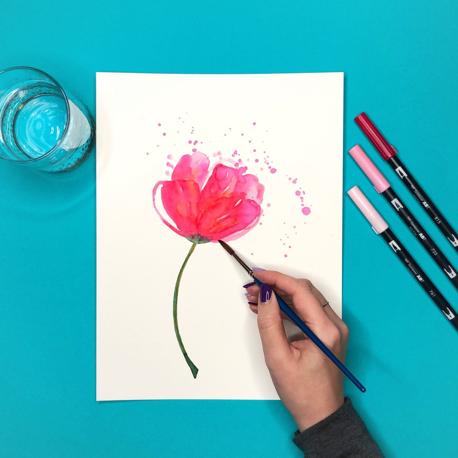 How To Create Watercolor Flowers With Markers Pen Watercolor