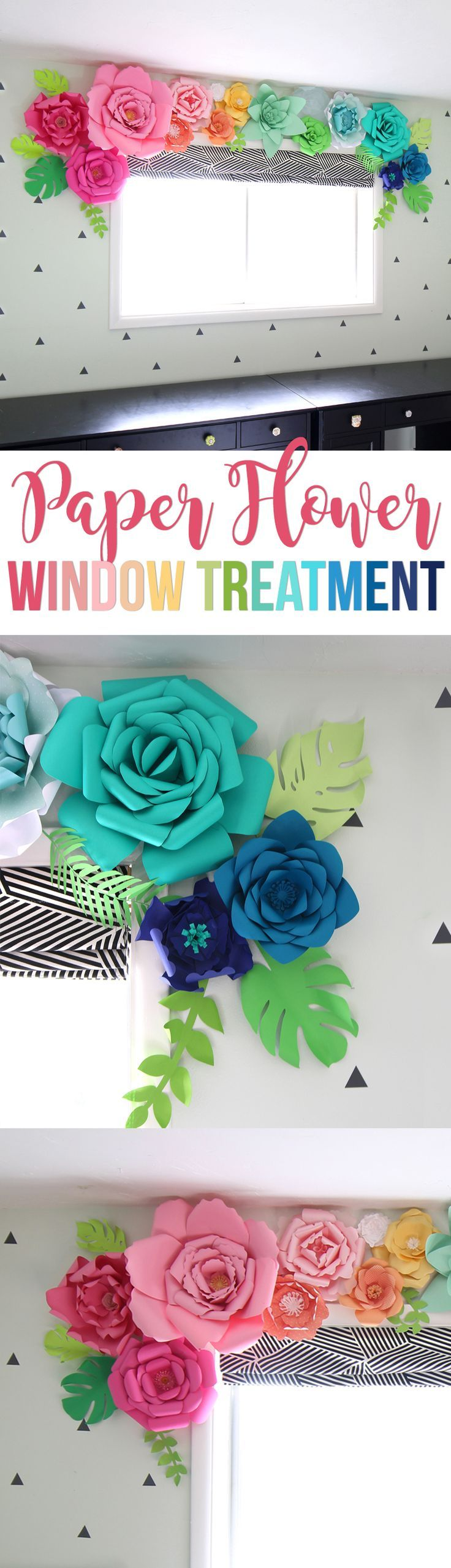 How to make paper flowers -- step by step instructions and video tutorial!Create a whimsical, colorful and unique window treatment using giant paper flowers. So cute for a little girls room or as nursery or party decor! Free paper flower templates and Silhouette cut files.