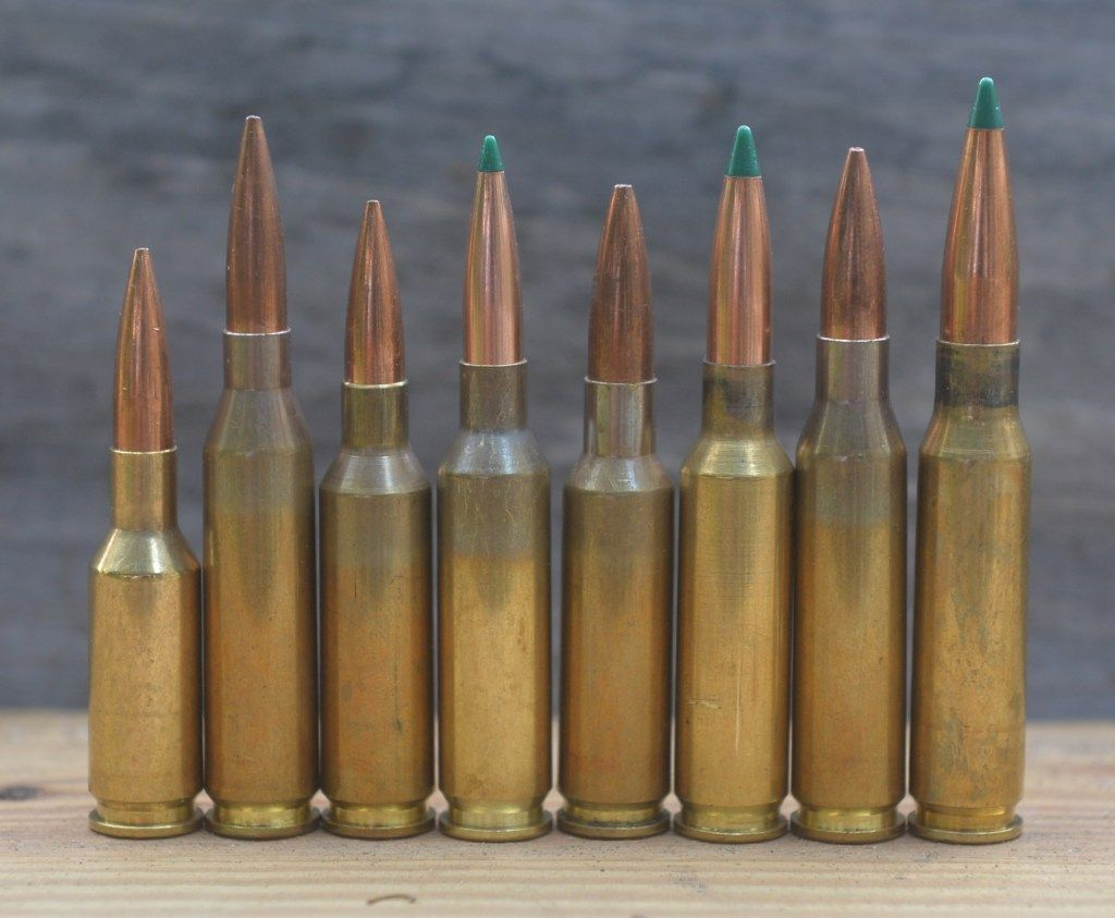 Commonly encountered match cartridges, left to right: 6mm BR