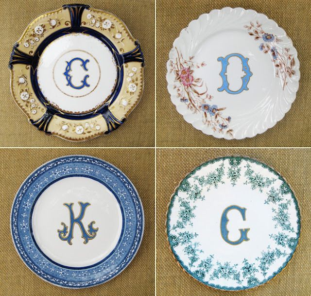 Monogrammed dinner plates from Kelly Wilson Antiques via The Enchanted Home.