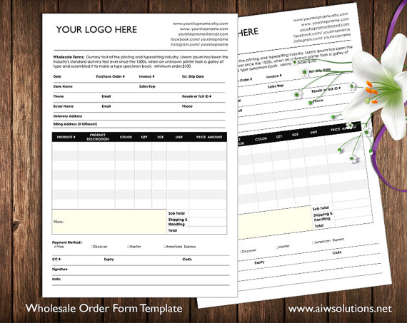 order form and Price Sheet on one page, Wholesale order form - price sheet template
