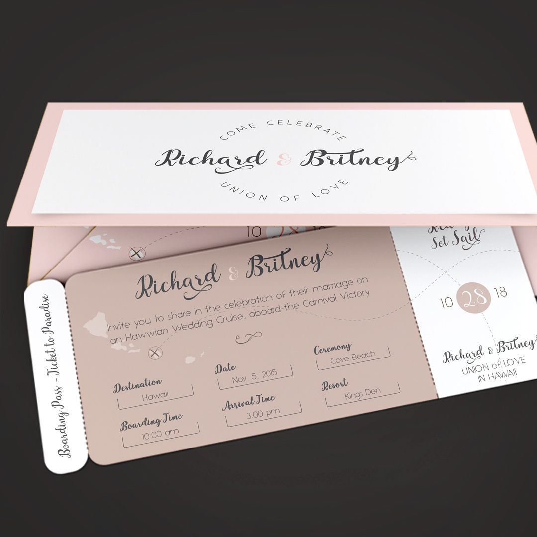 "Check out my @Behance project: ""Pinky Wedding Boarding Pass ..."