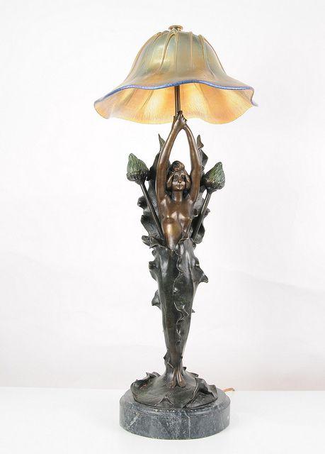 Art Nouveau Lamp Bronze canonburyantiques (2) | Art