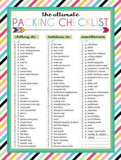 free printable ultimate travel checklist in 2018 travel