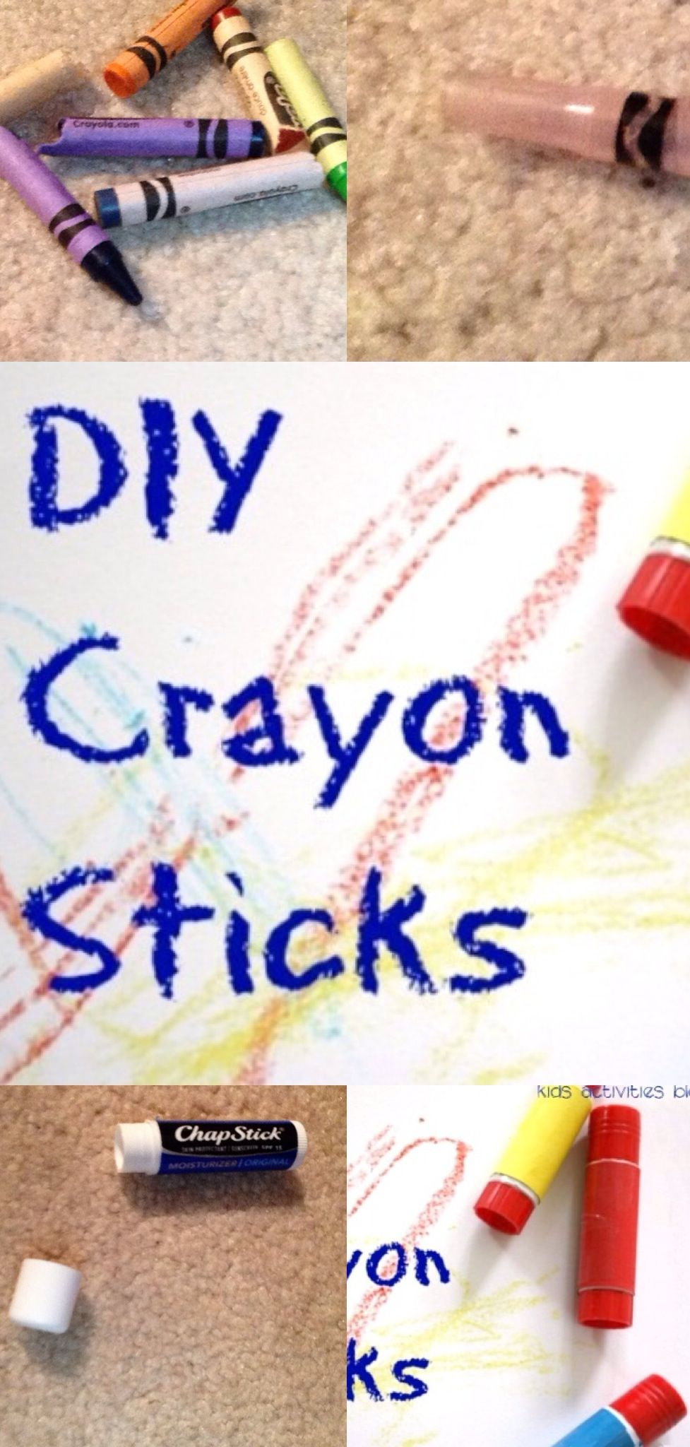I've been thinking if you can put melted crayons into an empty glue stick what else can you do? I thought of an empty twistable (one of the thicker kinds) and empty chap stick tubes.