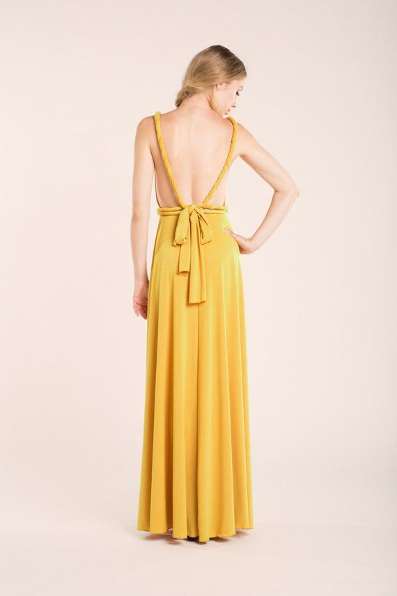 75ab9c7b5 Damas de honor. Mustard yellow long dress