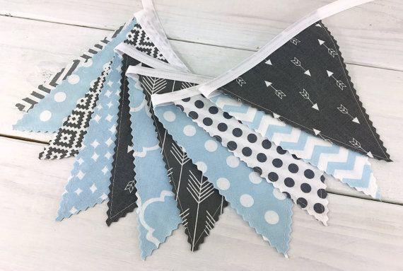Bunting Banner, Boy Nursery Decor, Birthday Decoration, Photography Prop - Light Blue,Gray,Aztec,Tribal Nursery,Arrow,Woodland,Baby Blue