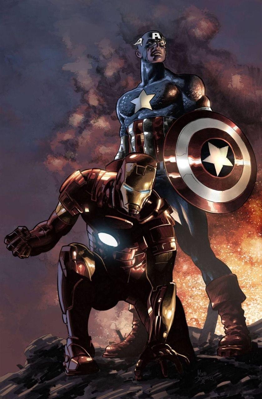 Captain America And Iron Man Vingadores Personagens Desenhos De