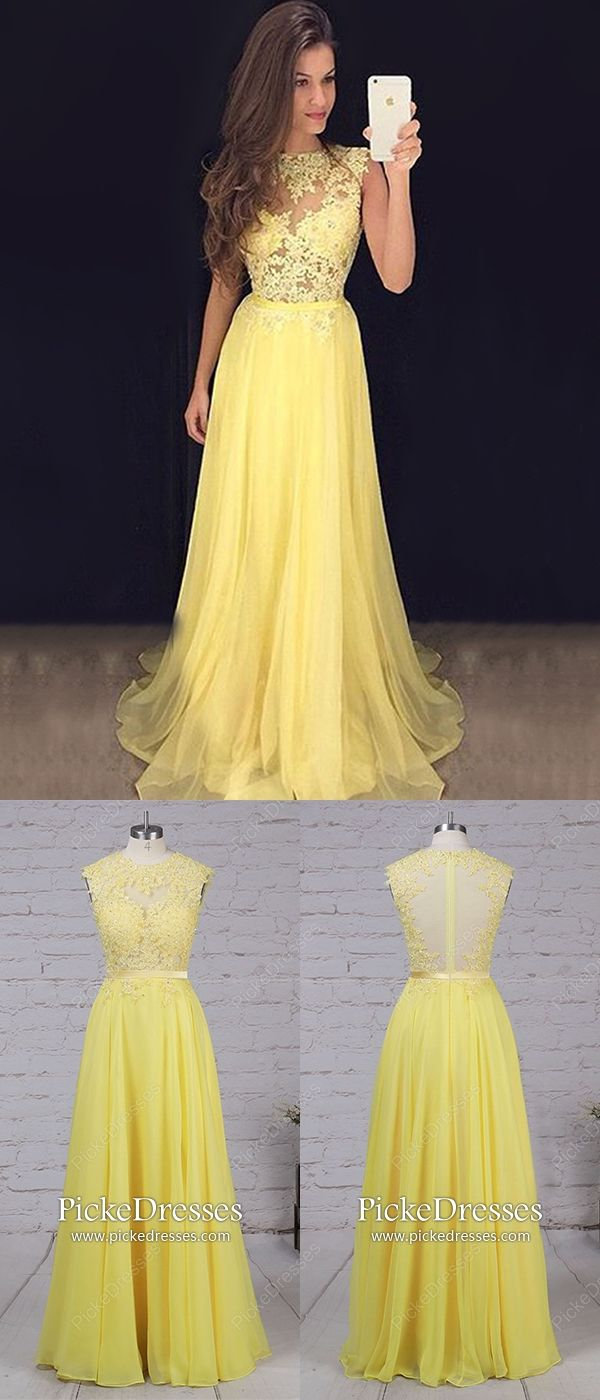 Yellow prom dresses long modest formal dresses for teenagers a