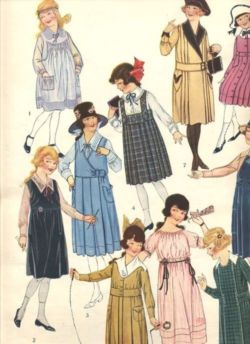 Girls' jumper style dresses from the Autumn 1918 edition of Butterick Quarterly.