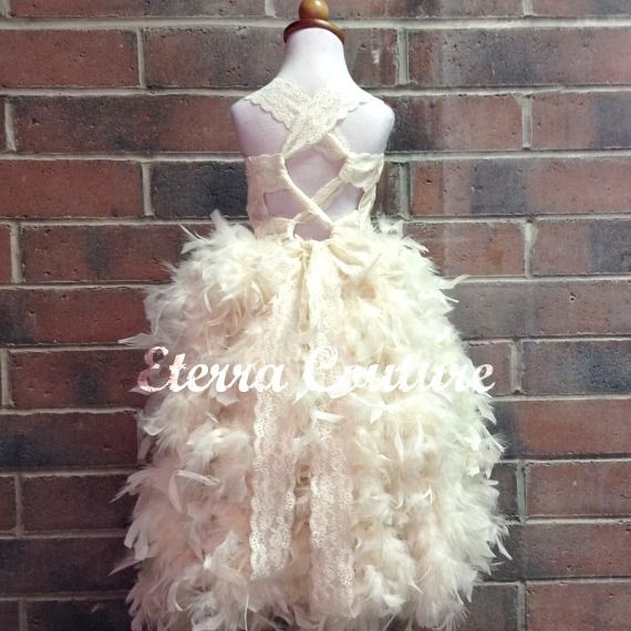 Lace corset flower girl wedding dress with feather bottom for Wedding dress with feathers on bottom
