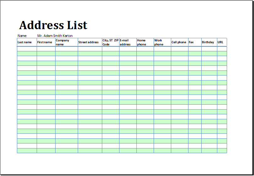 Address List Or Book Template At XltemplatesOrg  Microsoft