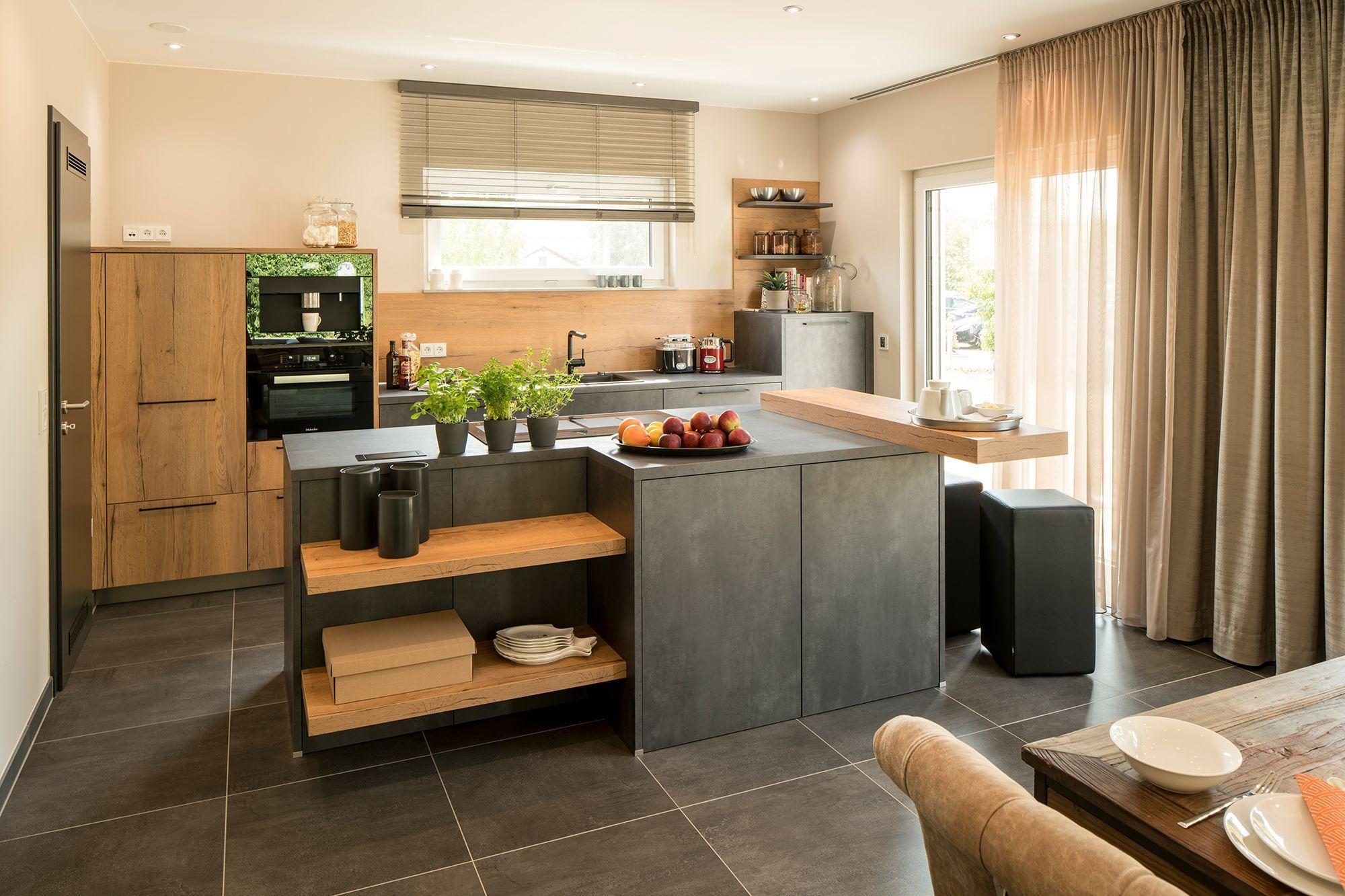 Wohnideen Küche Mit Grauen Fliesen Grau Braune Einrichtung Und Bodentiefe Fenster Wohnungküche Wohnideen Küche Mit Gr Haus Küchen Fingerhaus Fertighäuser