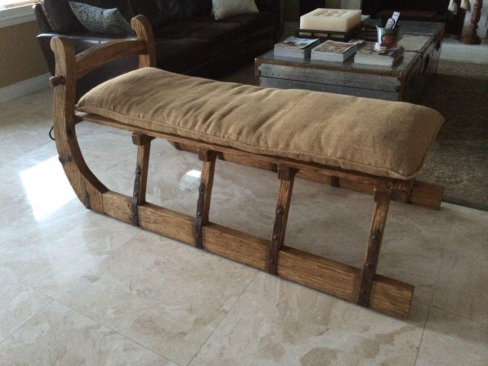 Restoration Hardware Antique Hungarian Sleigh Bench Burlap Bench